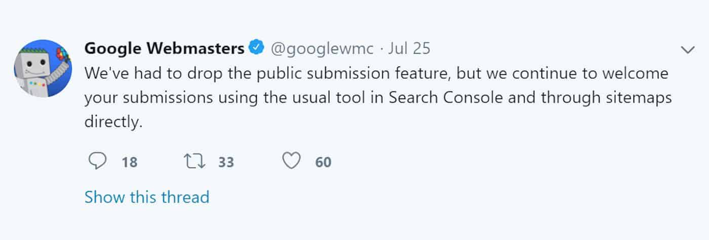 Google Webmasters Twitter Account